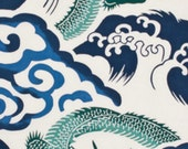 Rising Dragon & Cloud, Japanese Tenugui Cotton Fabric, Hand Dyed Home Decor Fabric, Wall At Hanging Tapestry, Modern Asian Decor Gift, wf004