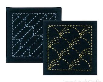 Japanese Sashiko Coaster Kit Beginner, Embroidery DIY Kit, Easy Stitch Tutorial, Hand Sashiko Traditional Design, Printed Sashiko Kit, EK207