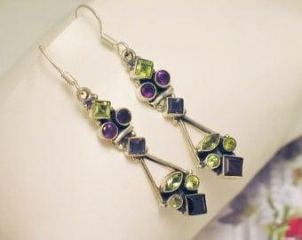 long gemstone chandelier earrings antique white sterling silver green peridot purple amethyst dangle drop design hook post stud fine jewelry