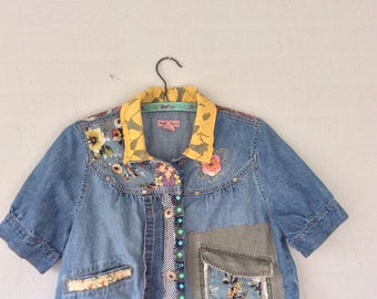 Cropped Women's Jean Jacket Upcycled Restructured Fashion for Spring Babydoll Style