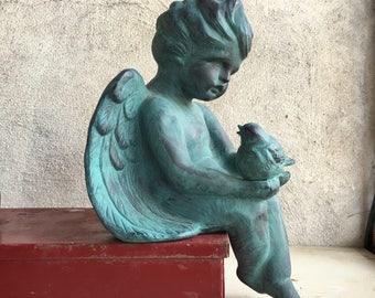Vintage angel statue, teal cherub statue with bird, Easter angel decor, mantle piece shelf angel, shelf decor, guardian angel cottage decor