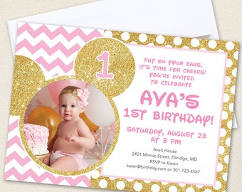 Gold Minnie Mouse Photo Invitations - Professionally printed *or* DIY printable