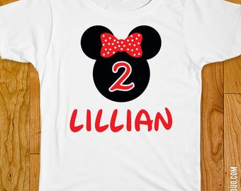 Red Minnie Mouse Birthday Iron-On Shirt Design - Choose child or onesie size