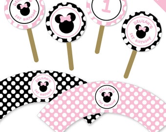 Baby Pink Minnie Mouse Party - Personalized DIY printable cupcake wrappers and toppers set