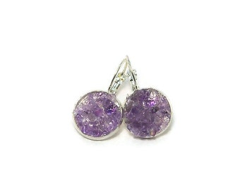 Amethyst Crater Earrings Lever Back Silver Tone Earrings