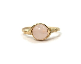Rose Quartz 14k Yellow Gold Filled Wire Wrapped Ring