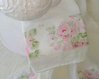 Lovely Pink  Rose Fabric Trimmed  White Flour Sack Towel Kitchen Towel Tea Towel All Cotton
