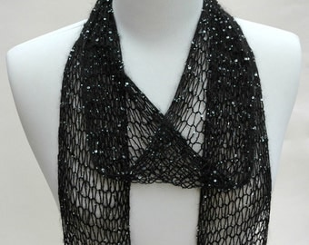 Beaded Silk & Mohair Scarf/ Hand Knit/Black with sequins