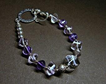 Amethyst bracelet, February birthstone, step faceted rock crystal pink amethyst purple amethyst sterling silver toggle bracelet, luxury