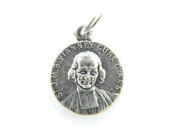 Vintage Saint John Vianney Cure d'ars - Immaculate Conception Catholic Medal - Religious Charms - Catholic Jewelry - Religious Supplies Z62