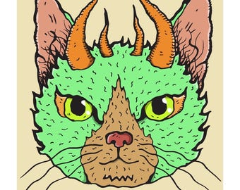 Green Horned Wiggly Kitties Cat Art Print