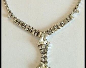 Vintage Kramer Rhinestone Necklace, Formal, Signed, Sparkling Teardrop, Round, 1960's