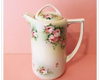 Antique Nippon Tea Pot, Heart Spout, Pink Flowers, Rising Sun, Hand Painted, Vintage 1891 1921