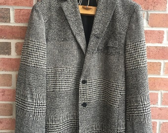 Michel Axel Paris Avant Garde Jacket Boxy Boucle Unisex Black & White Patchwork Weave Chevron Houndstooth Stripes Speckles Made in France