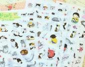 Love Cat cartoon kitty stickers set