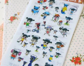 Sports Girl cartoon Diary Deco Stickers set