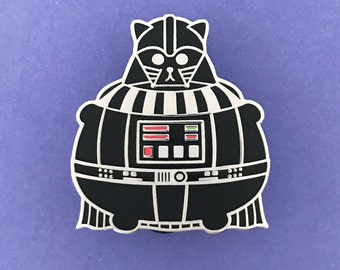 Darth Vader Pin - Star Wars Enamel Badge - Lapel Pin - Cat brooch - Fat Kitty - Black Cat Brooch - Cat Pin - pin - Hard Enamel Cat Brooch