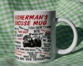 Fisherman's Excuse Mug, Vintage Comical Mug, Fish Didn't Bite, Boat Sunk, White, Black, Red