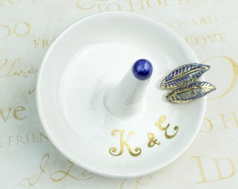Initial Ring dish, wedding ring holder bowl, bridesmaid personalized gift, gold BLUE leaves Custom Initials gift for bride ceramic ring cone