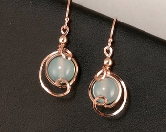 Light Blue Chalcedony Rose Gold Drop Earrings, Small Ice Blue Asymmetrical Wire Wrapped Pink Gold Earrings, Pink Rose Gold Jewelry