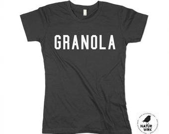womens granola shirt, granola print, Health food, boho shirt - small, medium, large, xl (3 color options)