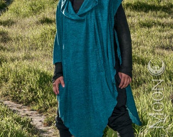 NEW The Sweater Knit Hooded Poncho with Pockets in Teal Blue or Sage Green Texture by Opal Moon Designs (Unisex Free Size)