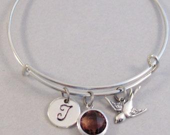 Garnet Sparrow Bangle,January Bracelet,Heart Bracelet,Bangle Bracelet,January Bracelet,January Birthstone,Bangle Bracelet,Bracelet,Personali