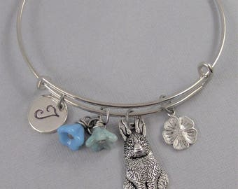 Bunny in Bloom,Rabbit Bracelet,Bunny Bracelet,Rabbit Bangle,Bunny Bangle,Bangle Bracelet,Bracelet,Easter Bracelet,Easter Jewelry,Personalize