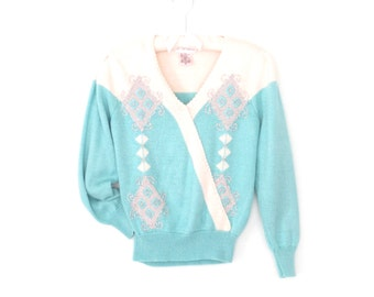 Vintage 80s Sweater * Embroidered Pullover Sweater * Angora Sweater *  Medium