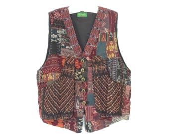 Vintage Ikat Vest * Oversized Ethnic Waistcoat * 80s Indonesian Patchwork Vest * Large XL