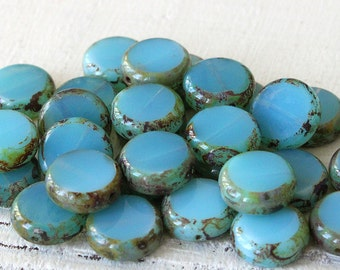 11mm Glass Coin Beads - Jewelry Making Supply - Opaline Blue Aqua With Picasso edges - Czech Glass Beads - Choose Amount