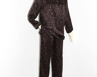 SAINT LAURENT Vintage Rive Gauche Silky Two Piece Lounge Blouse Pants Outfit
