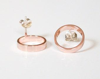Rose Gold Stud Earrings - Pink Gold Open Circle Studs - Pastel Faux Hoop Earings - Geometric Jewelry - Handmade in Brooklyn by HookAndMatter