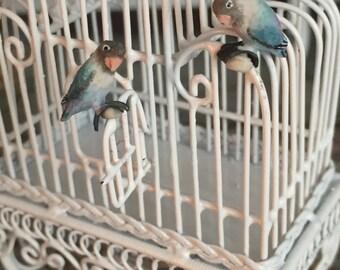 Miniature Love Birds, Blue Birds, Set of 2, Dollhouse Miniatures, 1:12 Scale, Mini Birds, Lovebirds, Miniature Animal Figurines