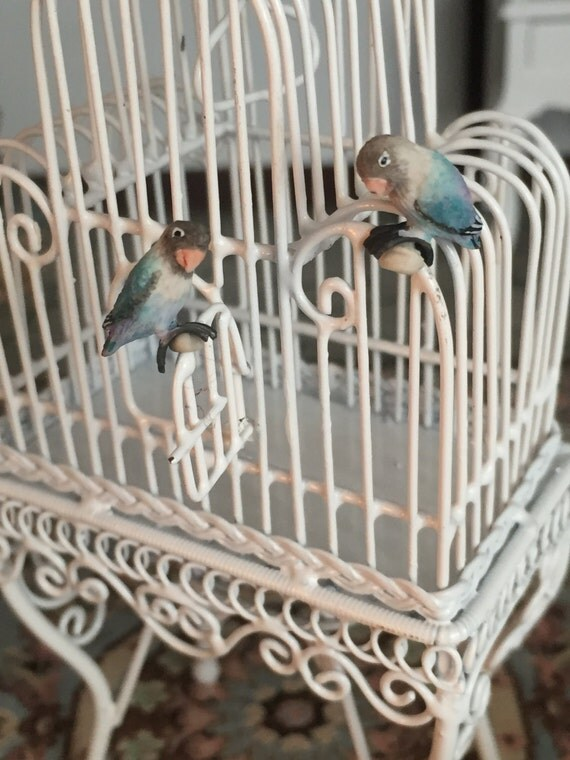 Miniature Love Birds, Blue Birds, Set of 2, Dollhouse Miniatures, 1:12 Scale, Mini Birds, Lovebirds, Miniature Animal Figurines