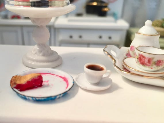 Miniature Pie & Coffee Set, Slice of Pie in Flow Blue Pan, Style 3, Dollhouse Miniature, 1:12 Scale, Miniature Food, 3 Piece Set