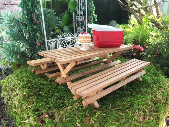 Miniature Picnic Table and Benches, 3 Pc Set, Wood Picnic Table, Dollhouse Miniature Furniture, Fairy Garden Accessory, Garden Decor