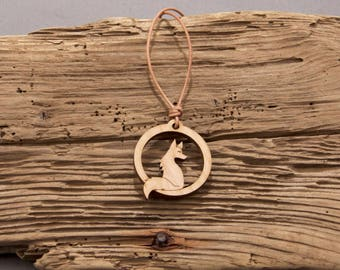 Fox Pendant - Fox Necklace - Cute Fox Pendant - Sitting Fox Pendant - Sitting Fox Necklace - Wood Pendant - Wood Necklace