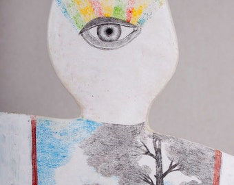 Air Dry Sculpture, Wall Hanging Art Object, Porcelain, Mixed Media, Handmade, Pencil Drawing, Weird, Nature, Tree, Superman, Third Eye