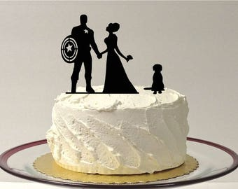 MADE In USA, Superhero + Bride + Groom Wedding Cake Topper, Bride and Groom Superhero Wedding Cake Topper, Silhouette Wedding Topper Pet Dog
