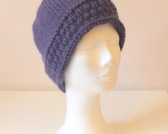 Hand knit purple-blue alpaca wool hat