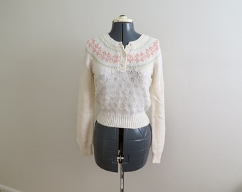 Vintage 1970s Cream Fair Isle Henley Sweater - Womens Bust 32 by Georgie Porgie