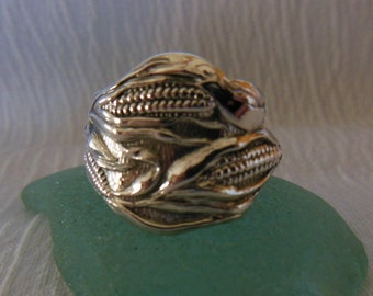 Corn  Spoon Ring  Antique Sterling Silver  Size 9