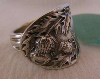 Thistle Antique Spoon Ring   Silver plate