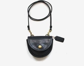 Vintage Coach Bag / Coach Mini Belt Bag / Black Leather Coach Purse / Mini Coach Purse