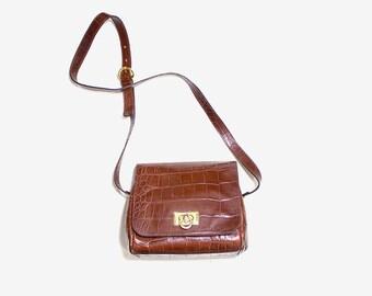 Vintage Structured Purse / Mini Leather Purse / Embossed Leather Purse / Leather Shoulder Bag / Leather Crossbody Purse