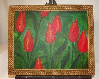 TULIP SUNRISE - Beautiful Original Acrylic Painting of Yellow and Red Tulips - 14x11