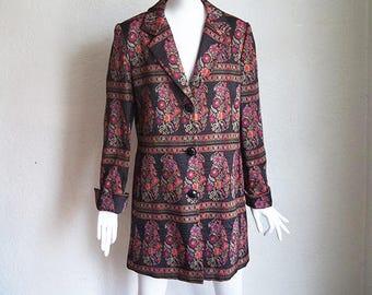 Vintage Town & Travel Hippie Jacquard Floral Tapestry Short Coat M