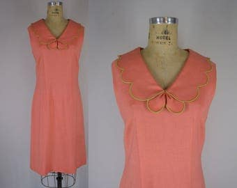 1960s Vintage Dress / 60s Petal Collar Coral Day Dress