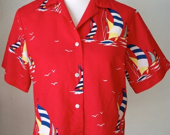 Red sail boat button up shirt by Cheryl Tiegs - Made in USA